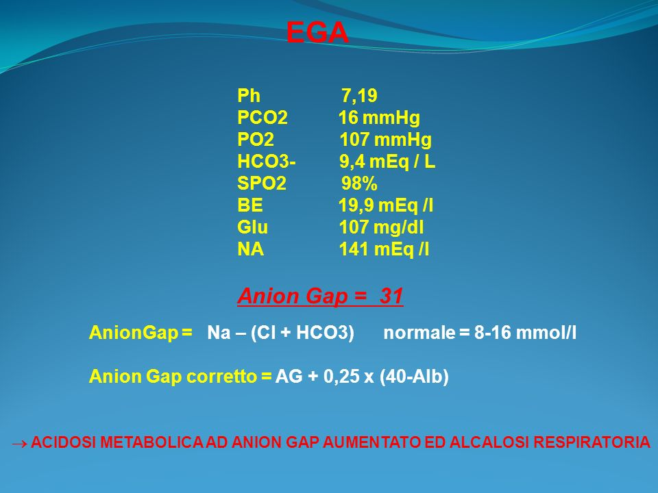 EGA Anion Gap = 31 Ph 7,19 PCO2 16 mmHg PO2 107 mmHg HCO3- 9,4 mEq / L