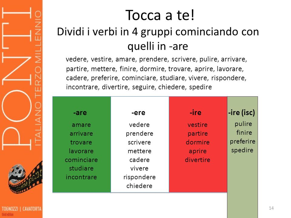 Dividi i verbi in 4 gruppi cominciando con quelli in -are