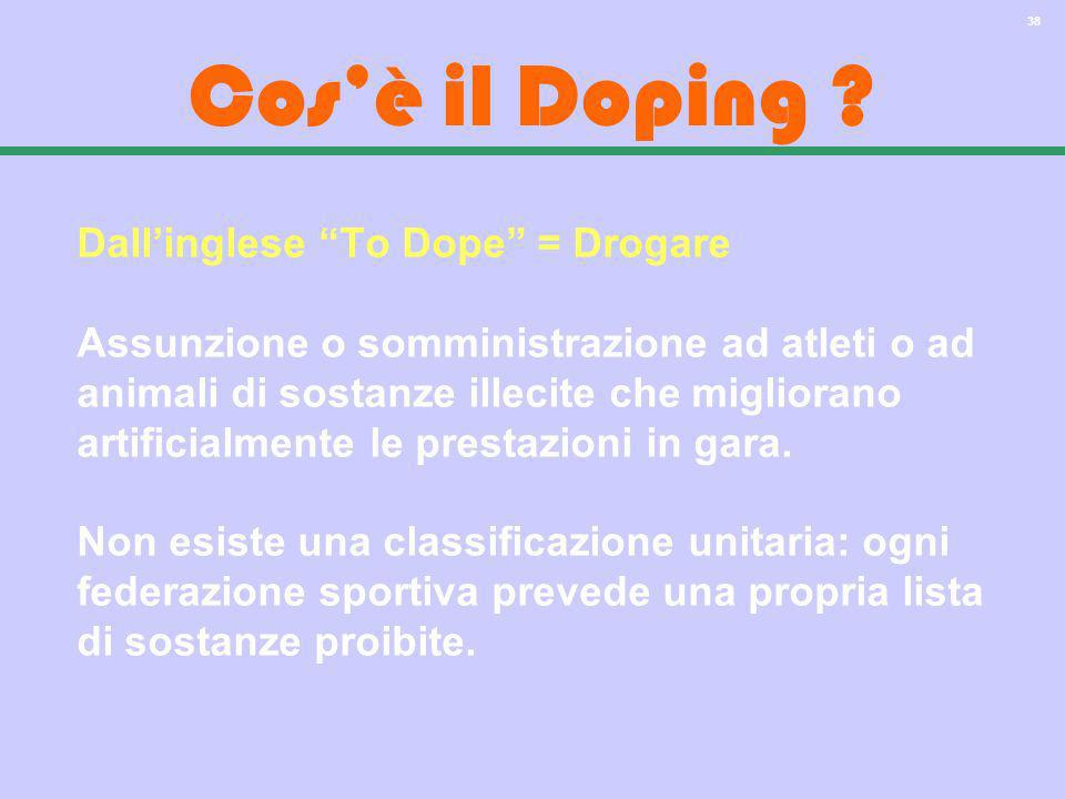 Cos'è il Doping Dall'inglese To Dope = Drogare