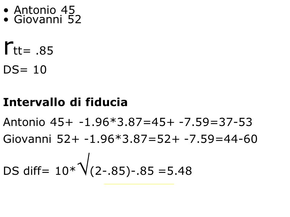 rtt= .85 Antonio 45 Giovanni 52 DS= 10 Intervallo di fiducia