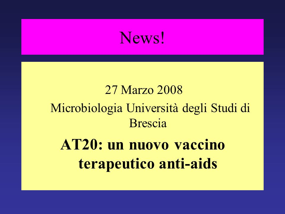 AT20: un nuovo vaccino terapeutico anti-aids