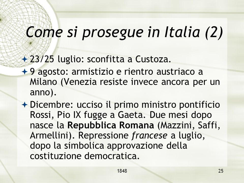 Come si prosegue in Italia (2)