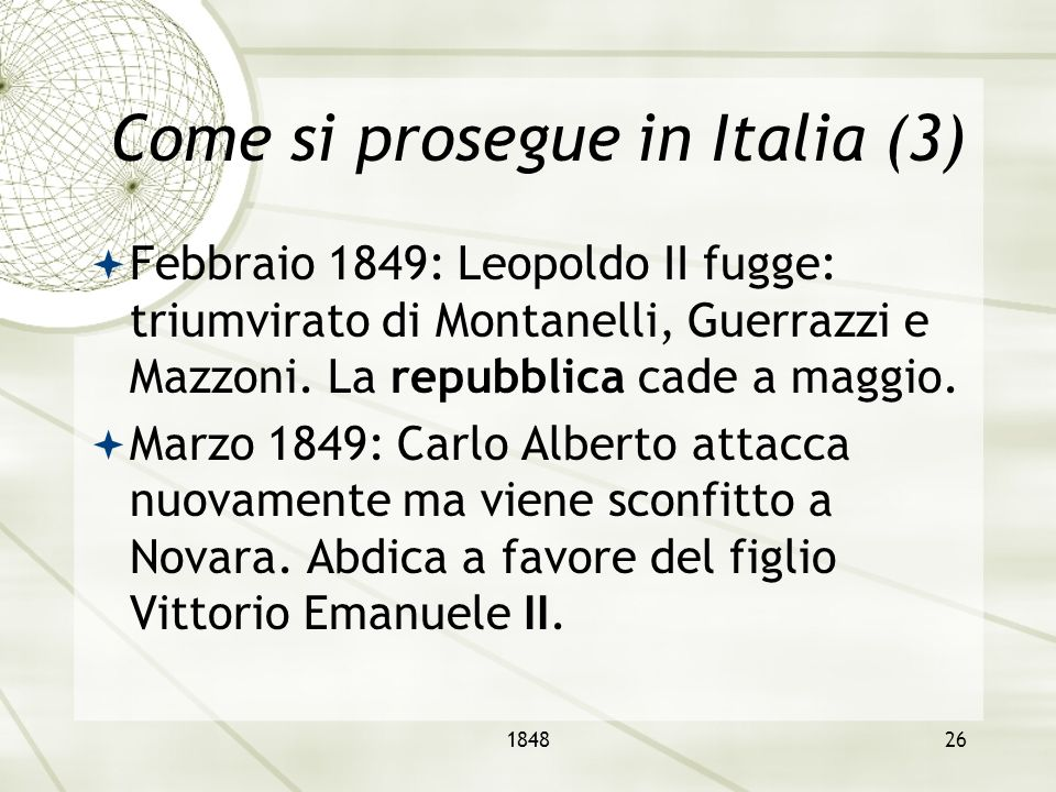 Come si prosegue in Italia (3)