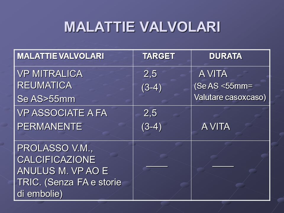 MALATTIE VALVOLARI VP MITRALICA REUMATICA Se AS>55mm 2,5 (3-4)