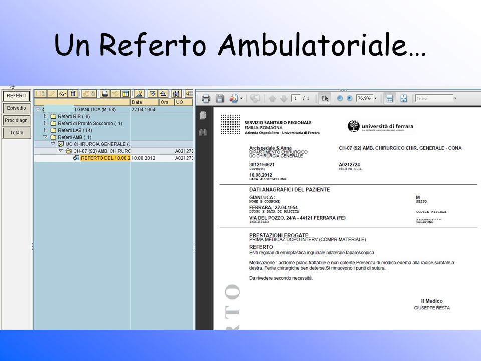 Un Referto Ambulatoriale…