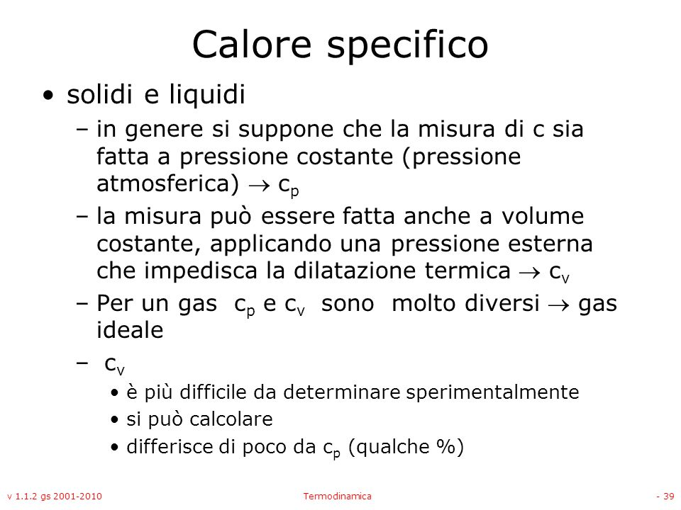 Calore specifico solidi e liquidi