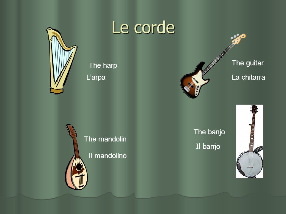 Le corde The guitar The harp L'arpa La chitarra The banjo The mandolin