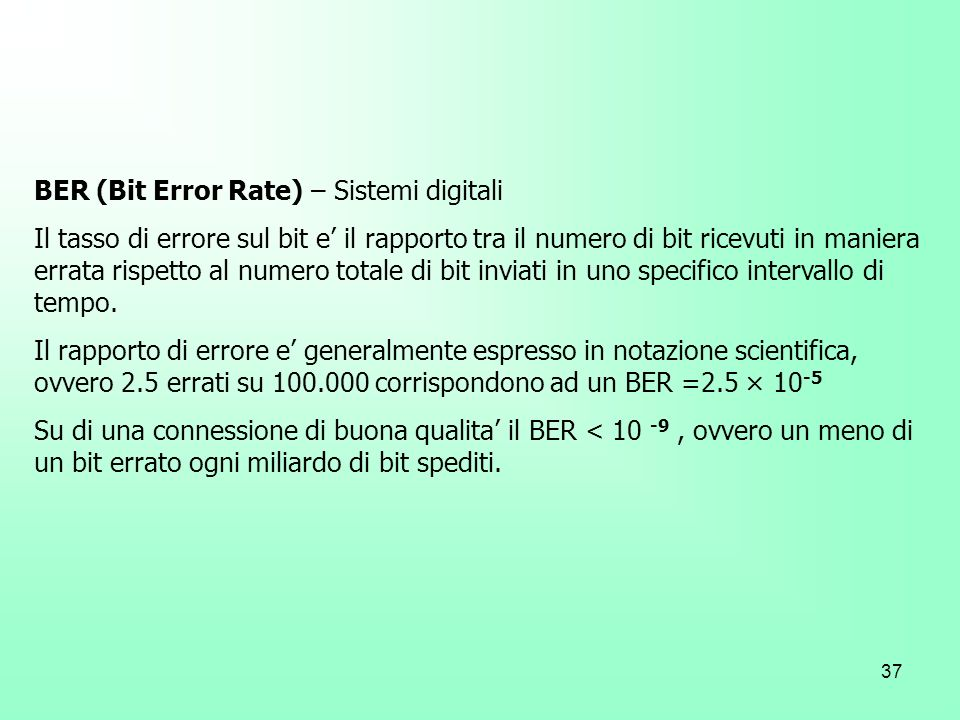 BER (Bit Error Rate) – Sistemi digitali