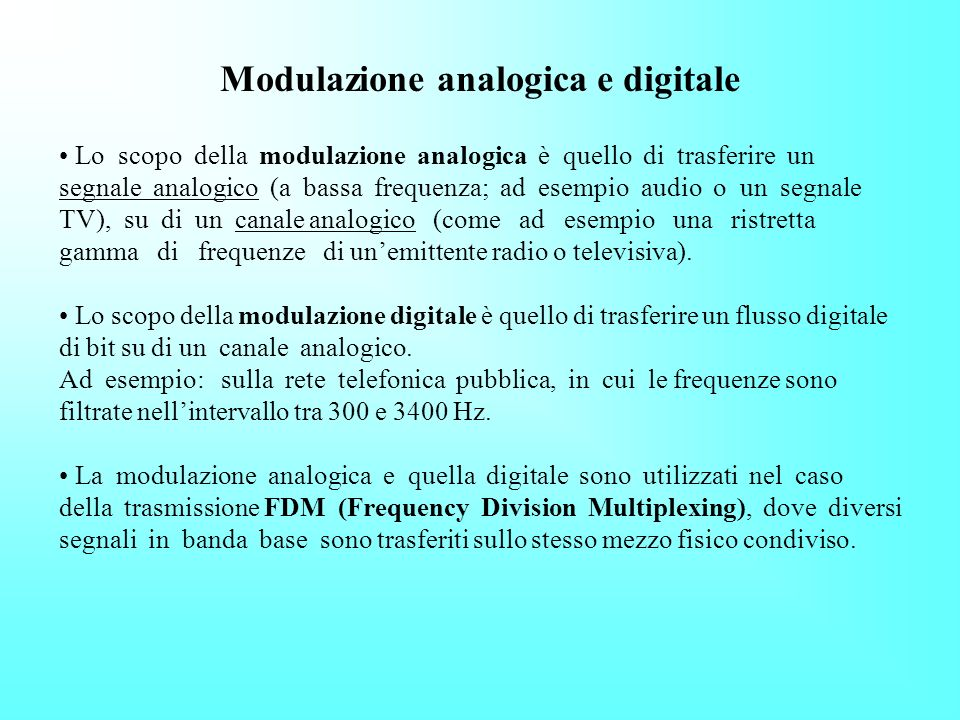 Modulazione analogica e digitale