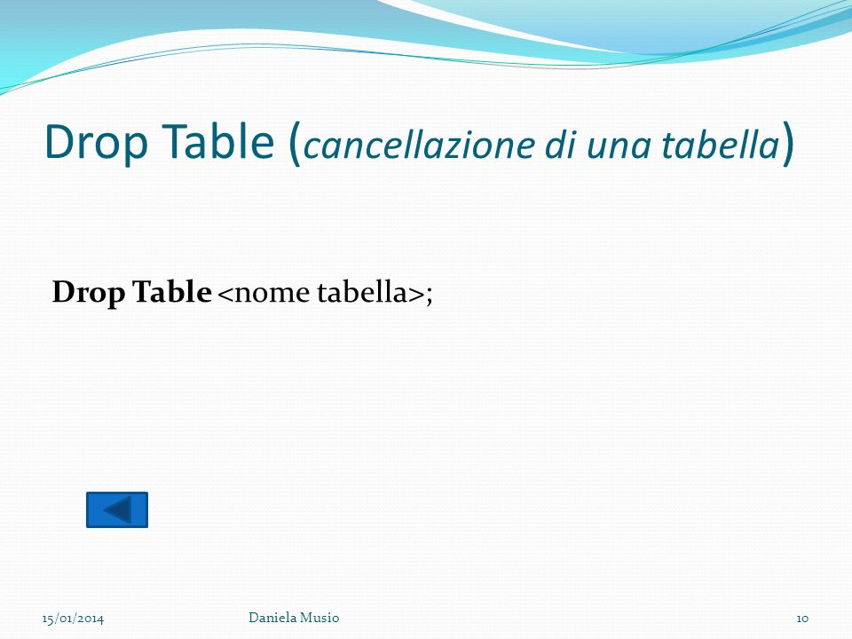 Drop Table (cancellazione di una tabella)