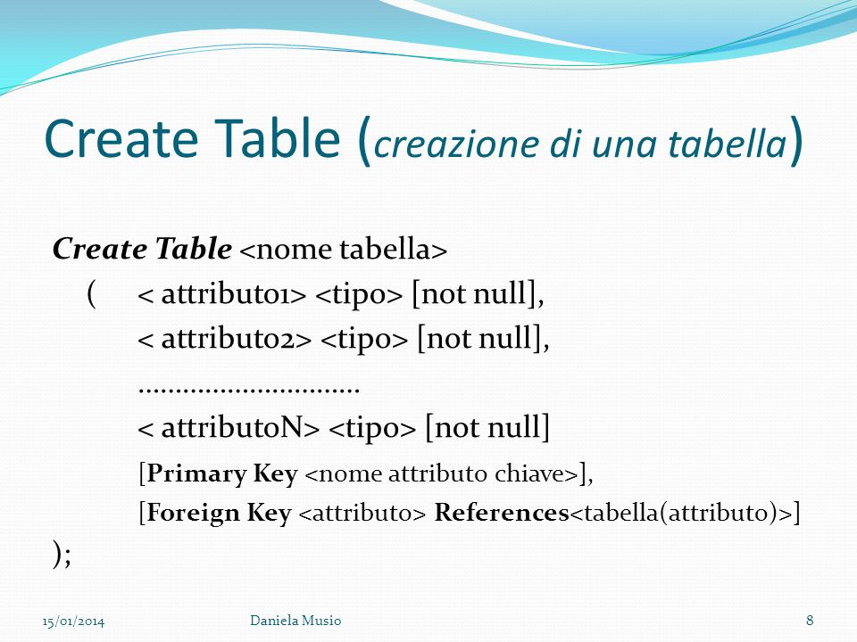 Create Table (creazione di una tabella)