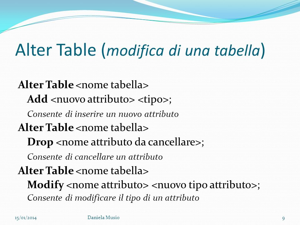 Alter Table (modifica di una tabella)