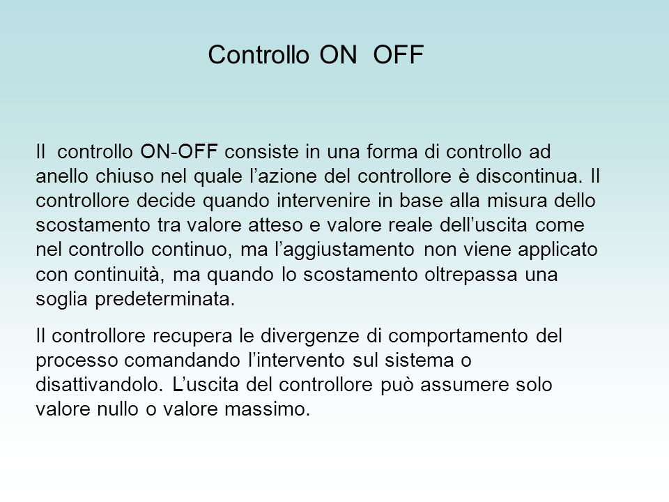 Controllo ON OFF