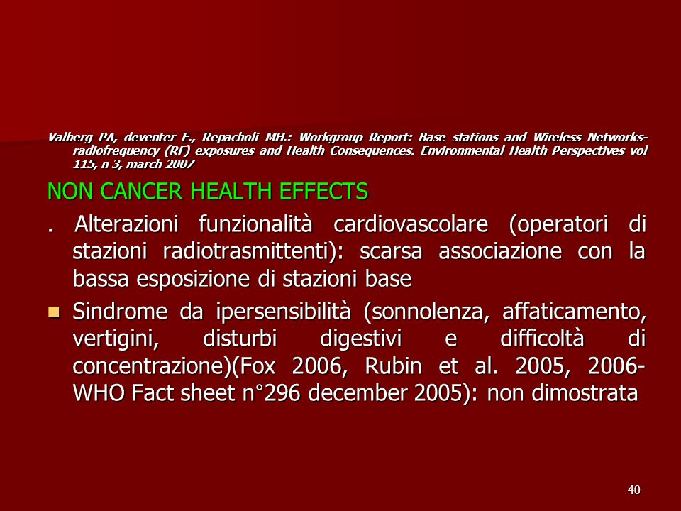 NON CANCER HEALTH EFFECTS