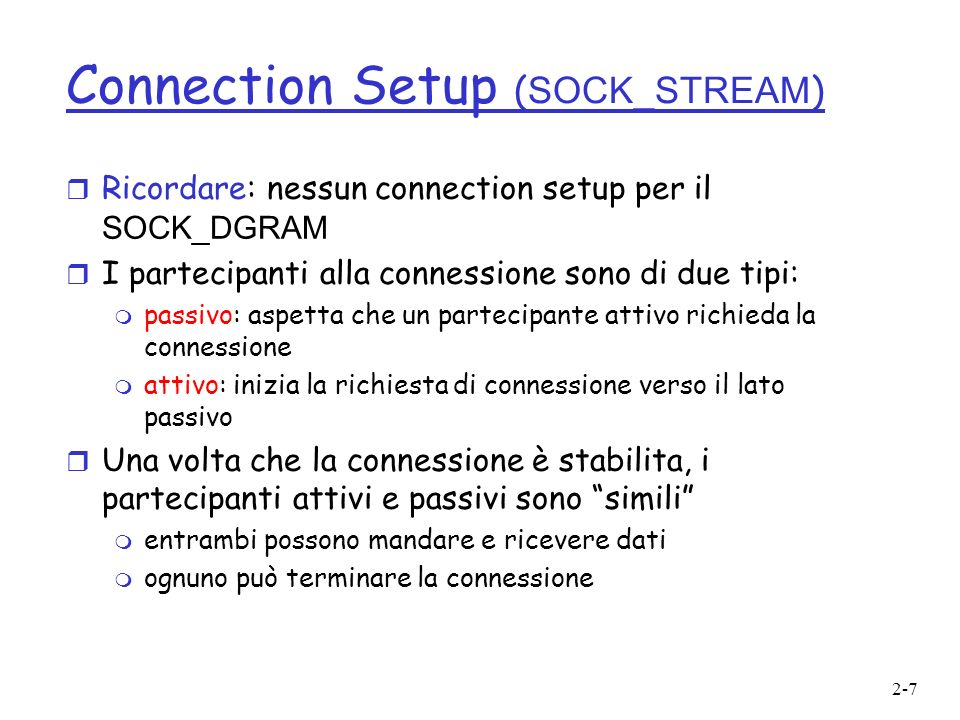Connection Setup (SOCK_STREAM)