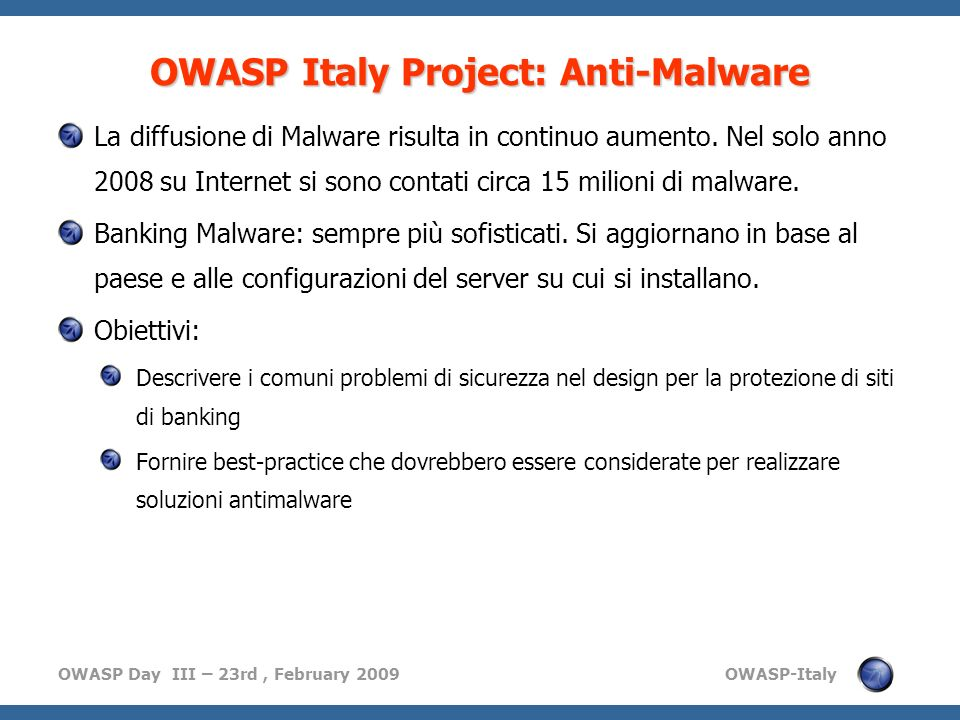 OWASP Italy Project: Anti-Malware