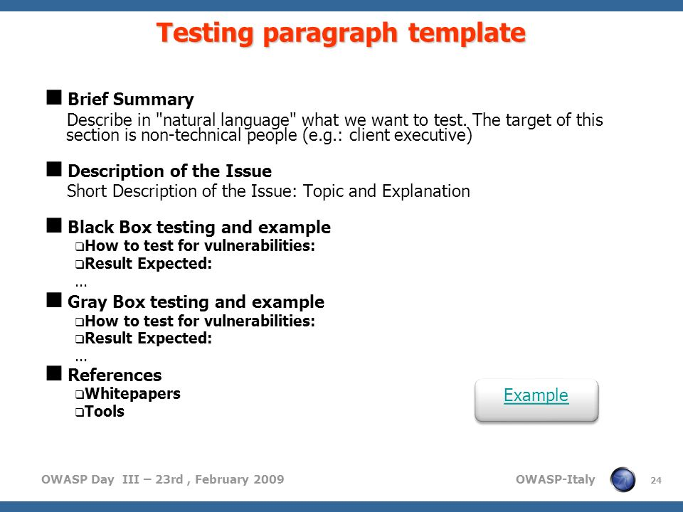 Testing paragraph template