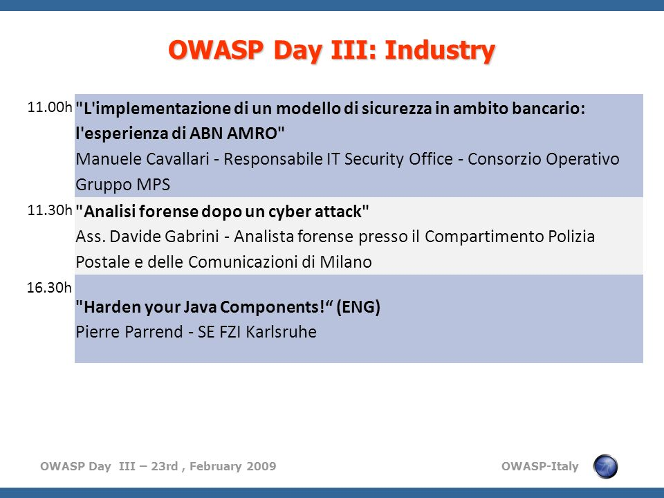OWASP Day III: Industry