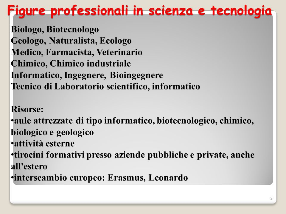 Figure professionali in scienza e tecnologia