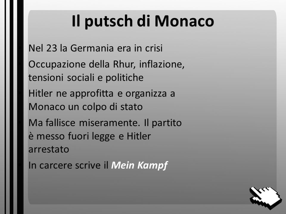 Il putsch di Monaco Nel 23 la Germania era in crisi