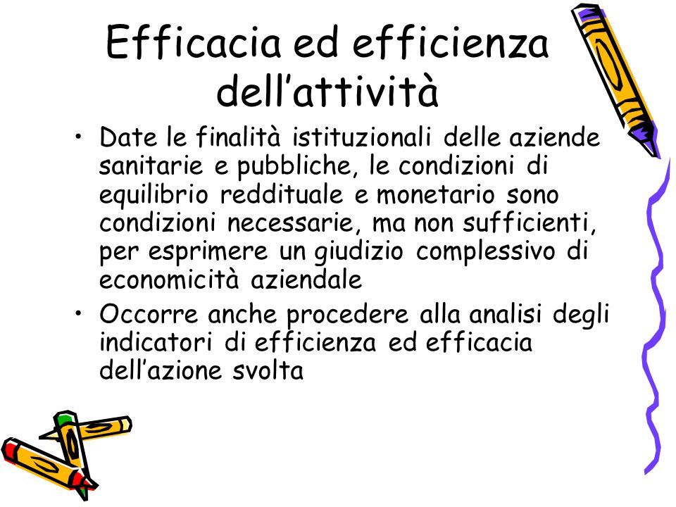 Efficacia ed efficienza dell'attività