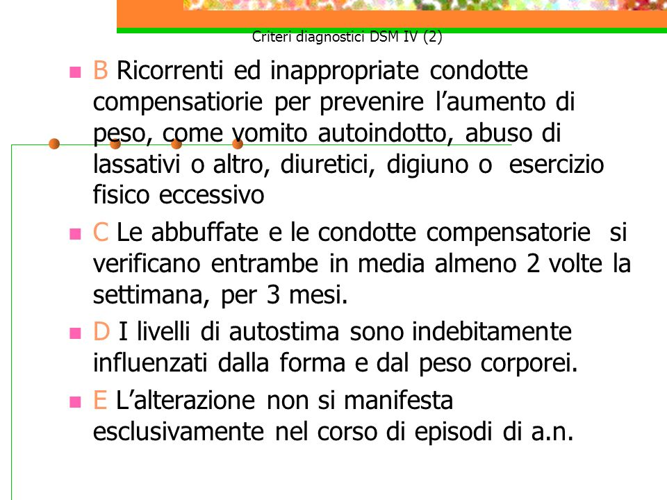 Criteri diagnostici DSM IV (2)