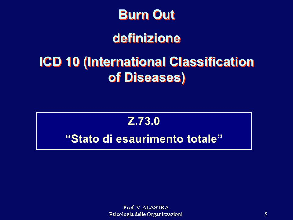 Burn Out definizione ICD 10 (International Classification of Diseases)