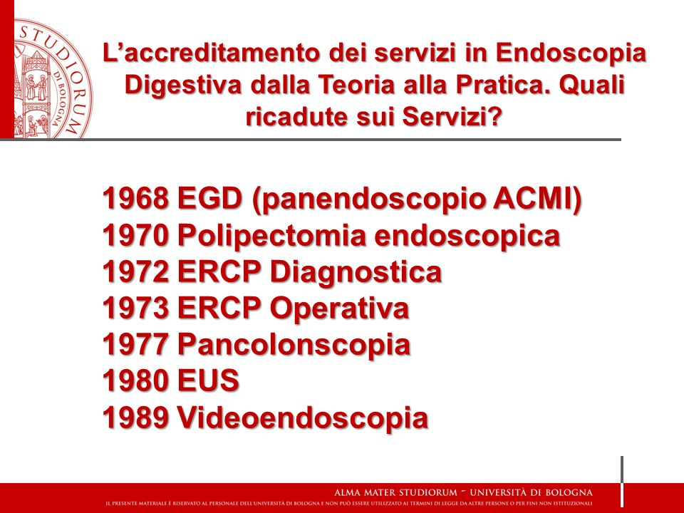 1968 EGD (panendoscopio ACMI) 1970 Polipectomia endoscopica