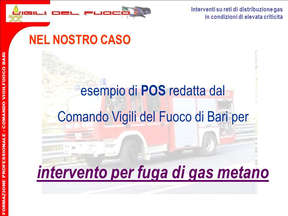 intervento per fuga di gas metano