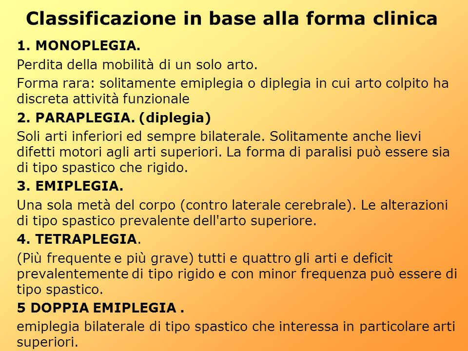 Classificazione in base alla forma clinica
