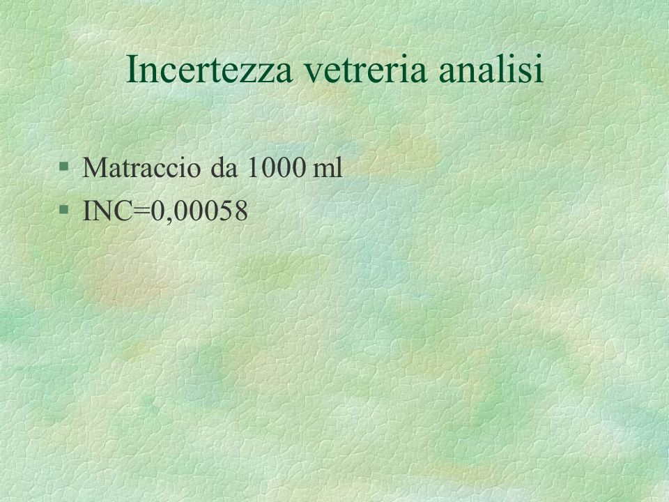 Incertezza vetreria analisi