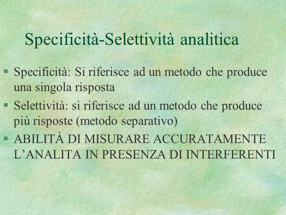 Specificità-Selettività analitica
