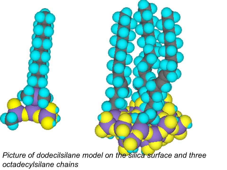 Picture of dodecilsilane model on the silica surface and three octadecylsilane chains