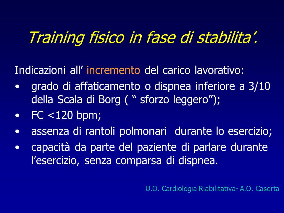 Training fisico in fase di stabilita'.