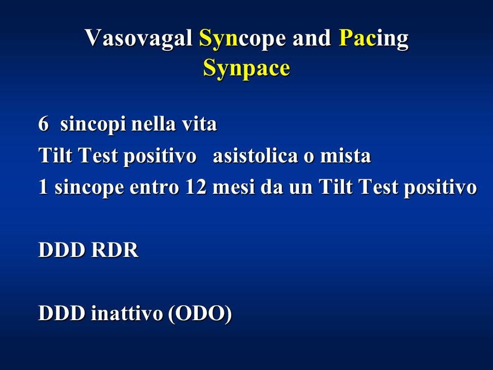 Vasovagal Syncope and Pacing Synpace