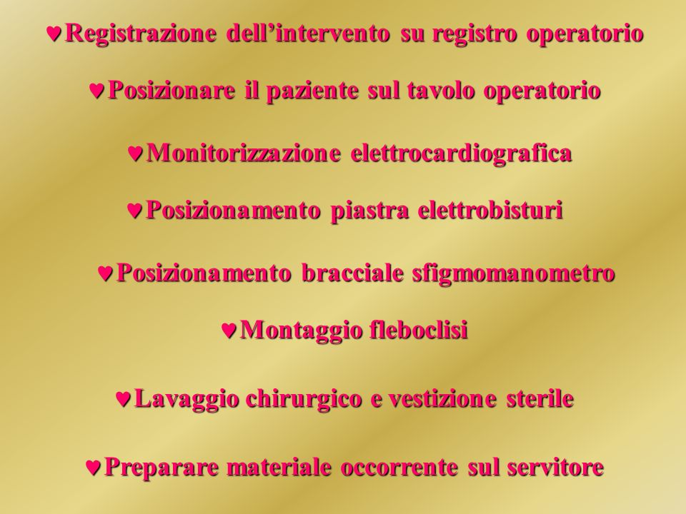 Registrazione dell'intervento su registro operatorio