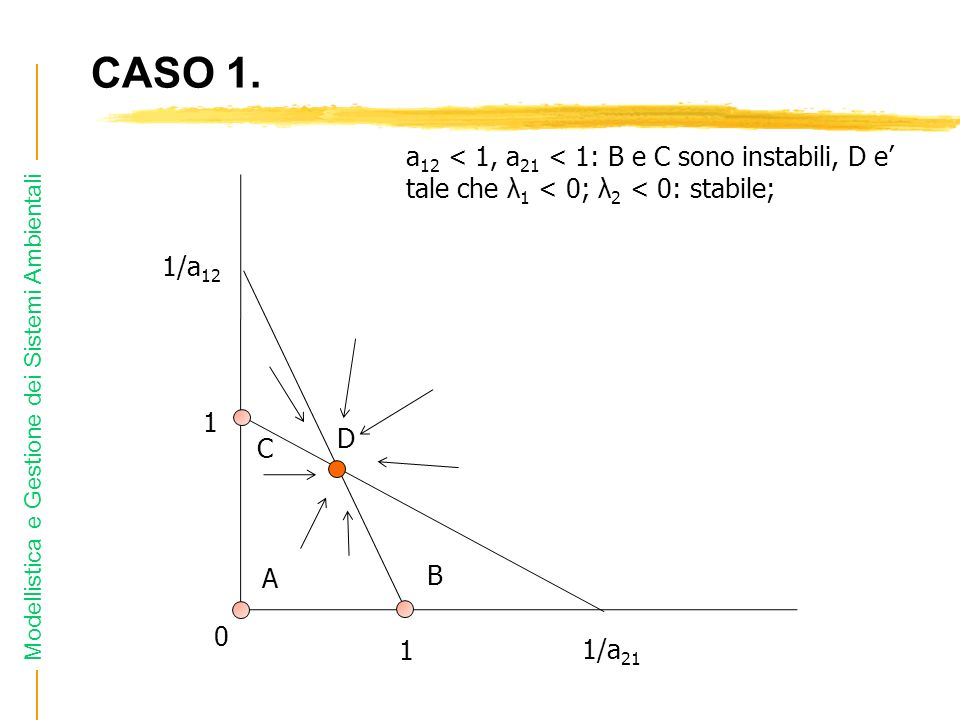 CASO 1. a12 < 1, a21 < 1: B e C sono instabili, D e' tale che λ1 < 0; λ2 < 0: stabile; 1/a D.