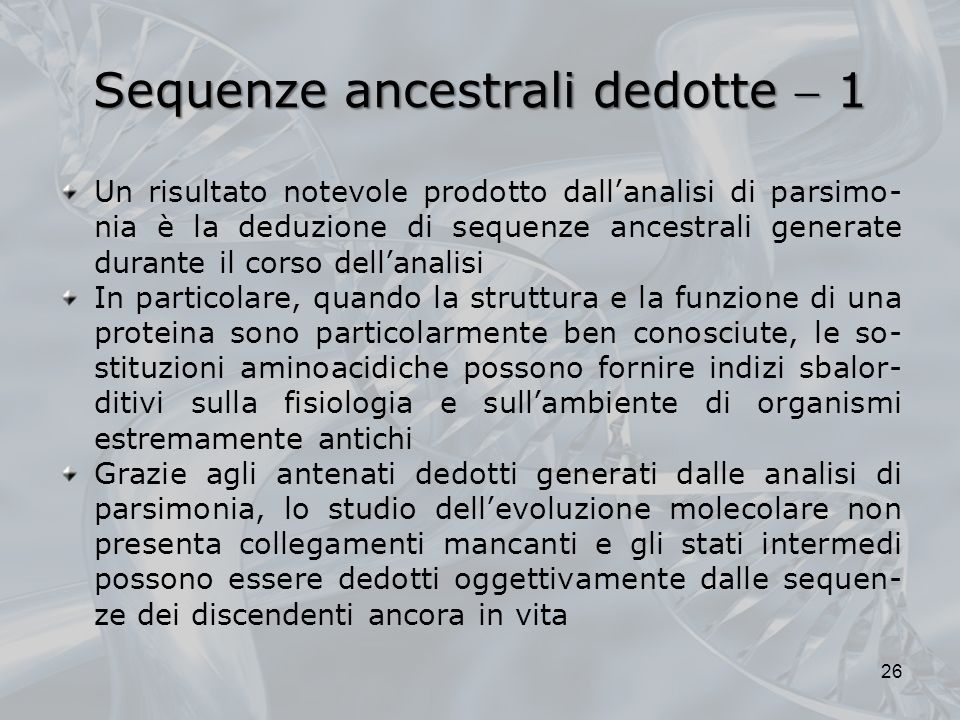 Sequenze ancestrali dedotte  1