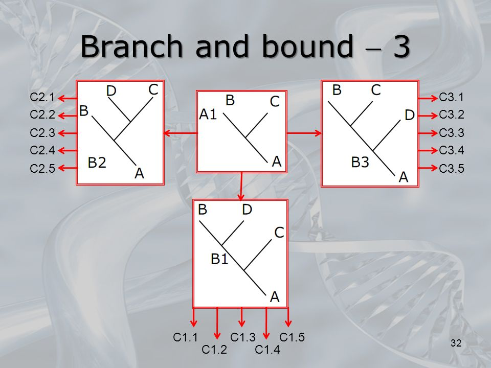 Branch and bound  3 C2.5 C2.1 C2.2 C2.3 C2.4 C3.5 C3.1 C3.2 C3.3 C3.4