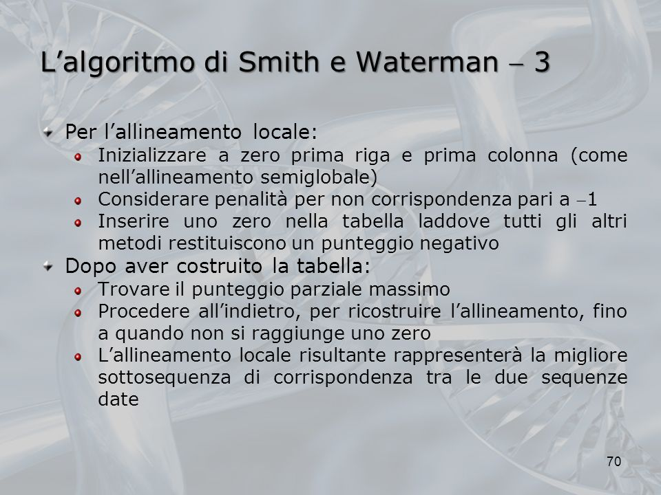 L'algoritmo di Smith e Waterman  3