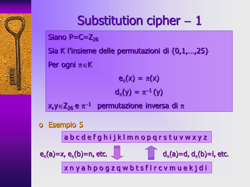 Substitution cipher  1 Siano P=C=Z26