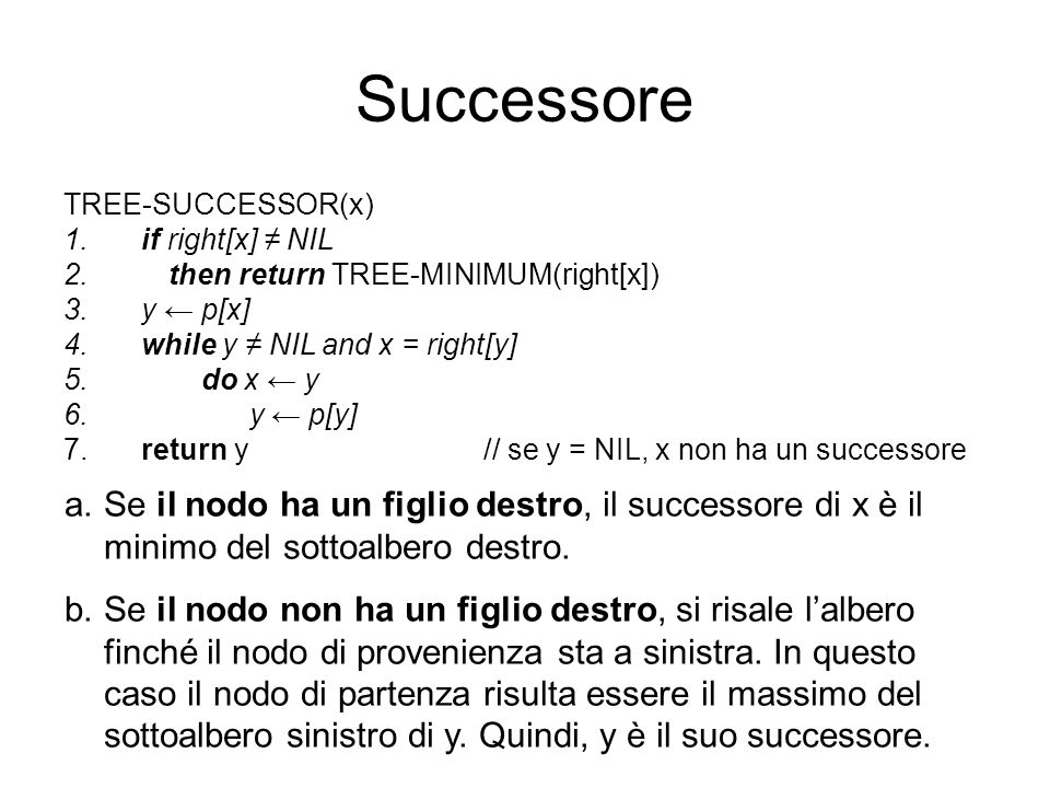 Successore TREE-SUCCESSOR(x) if right[x] ≠ NIL. then return TREE-MINIMUM(right[x]) y ← p[x] while y ≠ NIL and x = right[y]