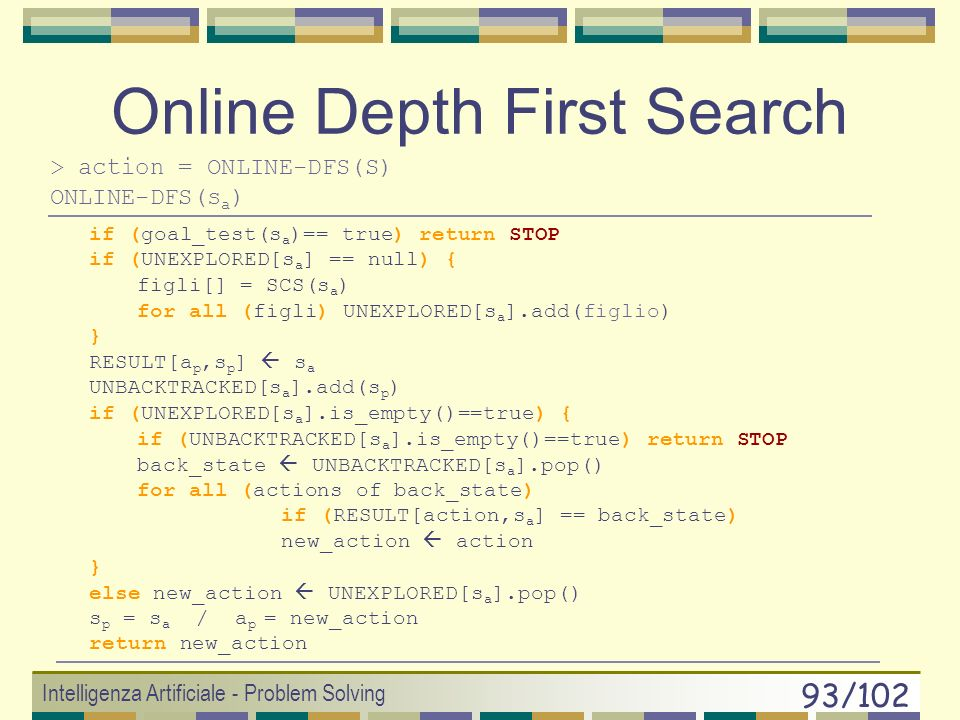Online Depth First Search