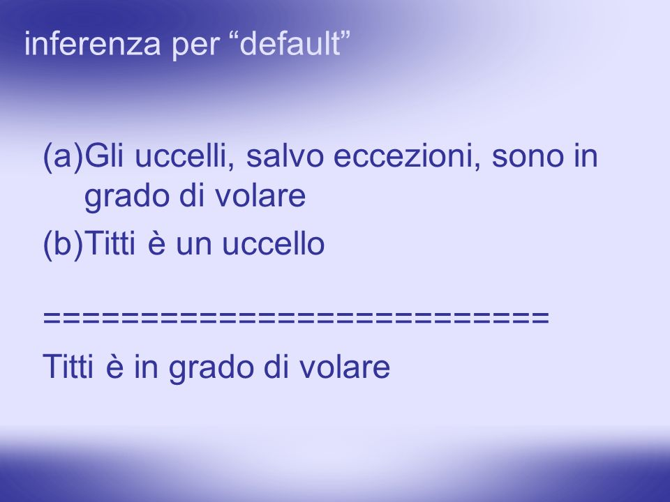 inferenza per default