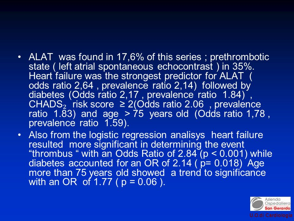 ALAT was found in 17,6% of this series ; prethrombotic state ( left atrial spontaneous echocontrast ) in 35%. Heart failure was the strongest predictor for ALAT ( odds ratio 2,64 , prevalence ratio 2,14) followed by diabetes (Odds ratio 2,17 , prevalence ratio 1.84) , CHADS₂ risk score ≥ 2(Odds ratio 2.06 , prevalence ratio 1.83) and age > 75 years old (Odds ratio 1,78 , prevalence ratio 1.59).