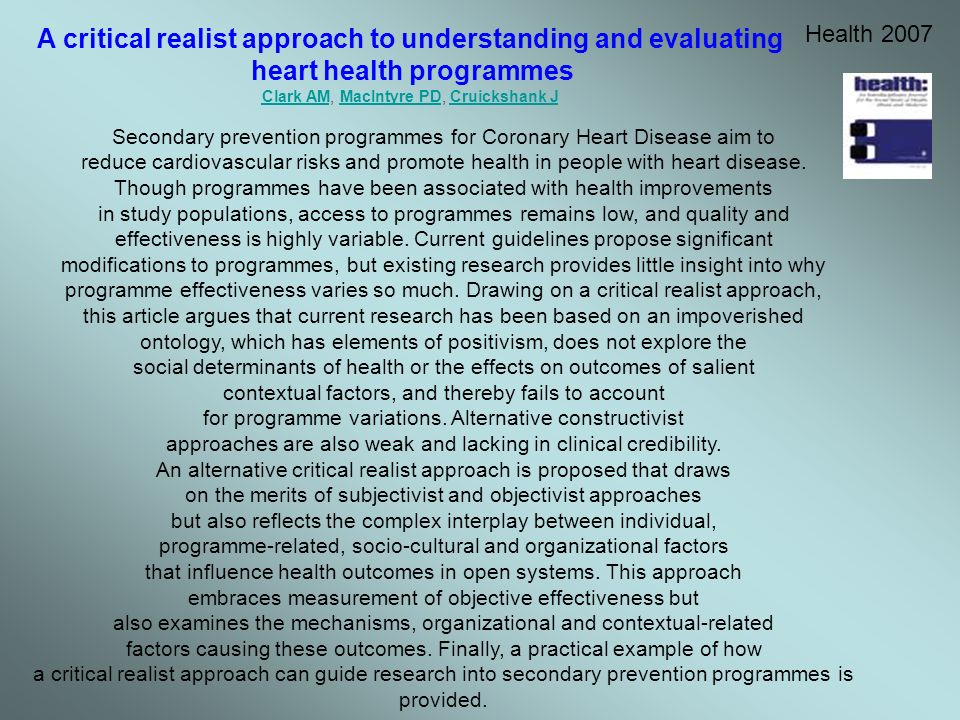 A critical realist approach to understanding and evaluating