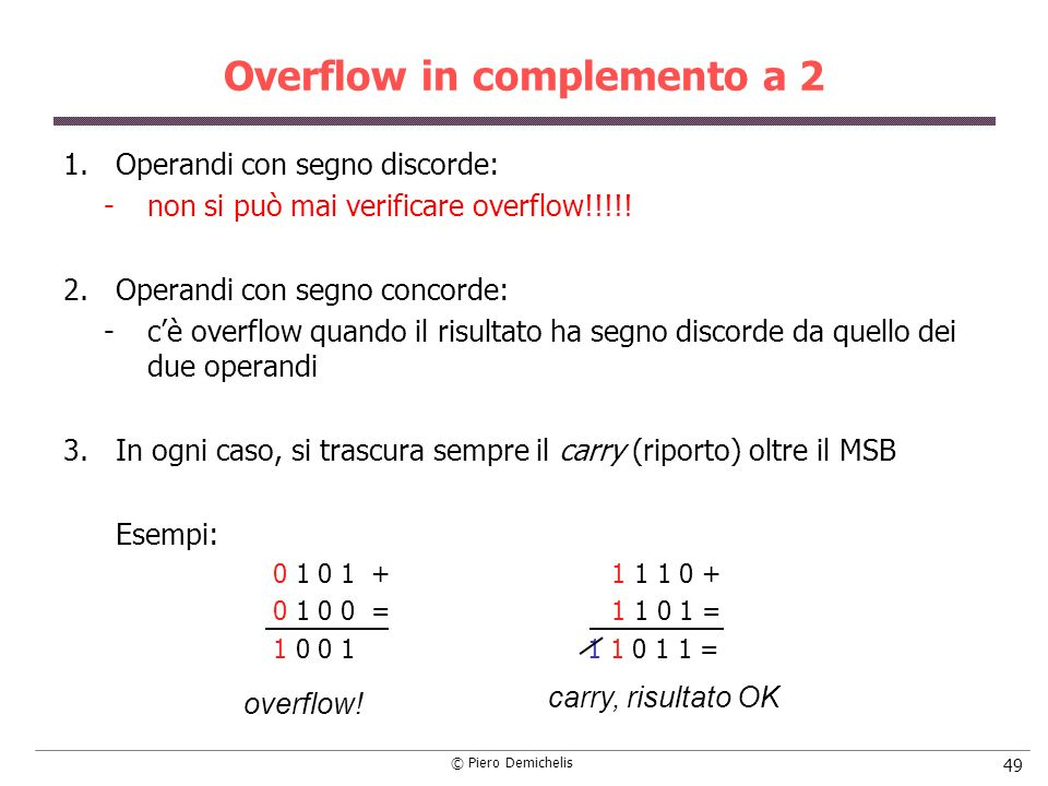 Overflow in complemento a 2