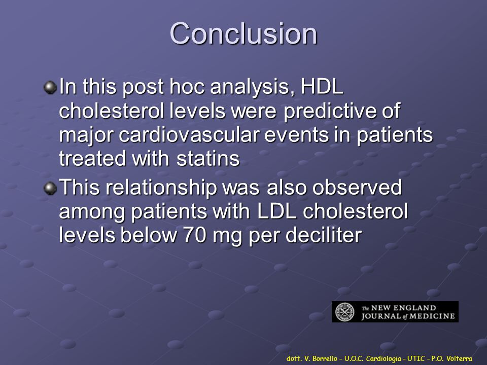 Conclusion In this post hoc analysis, HDL cholesterol levels were predictive of major cardiovascular events in patients treated with statins.