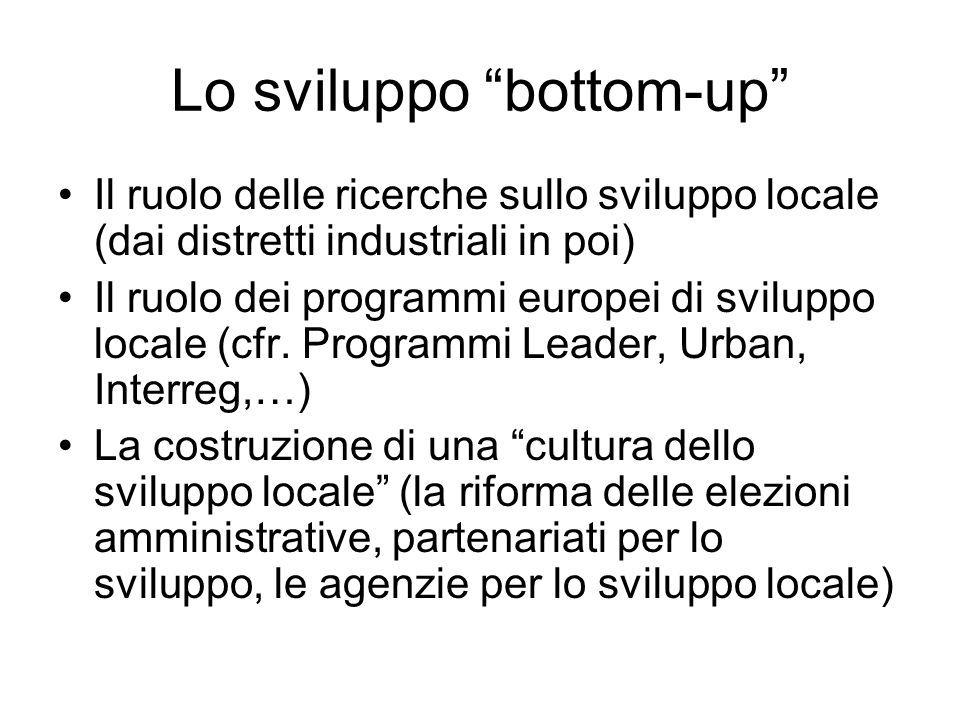 Lo sviluppo bottom-up