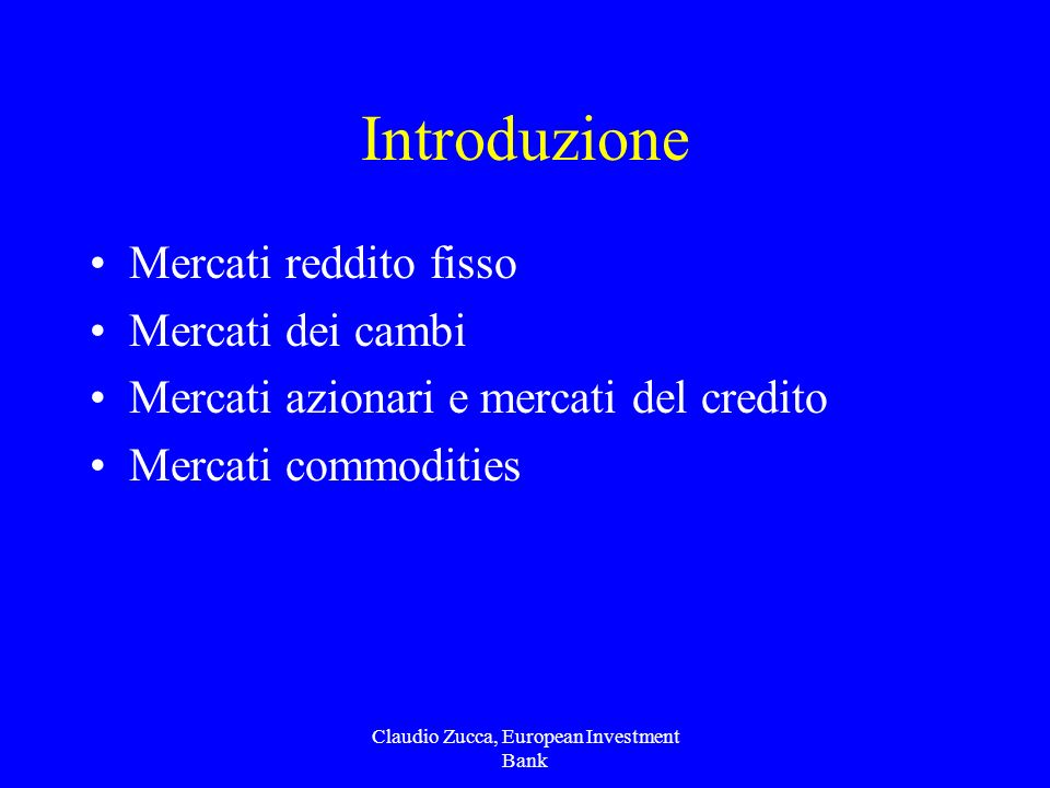 Claudio Zucca, European Investment Bank